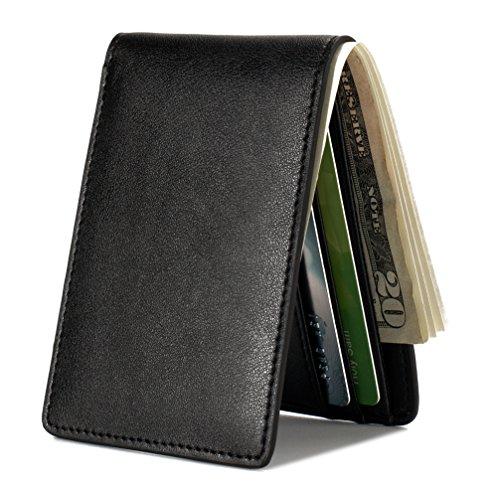 Mens Slim Front Pocket Wallet ID Window Card Case with RFID Blocking - Black
