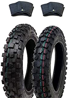 MMG Tire Set Knobby Tires Front 2.50-10 and Rear 2.75-10 with Inner Tubes TR4, Mini Dirt Bike Off road Motocross Pattern