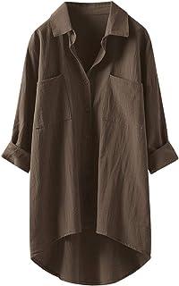 ASARANS ロングシャツ シャツ レディース 長袖 シャツワンピース リネンシャツ 麻 ゆったり 大きいサイズ 無地 春 夏 秋