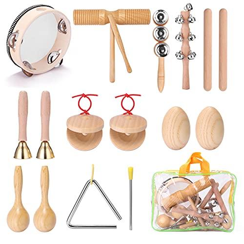 Tomshin 13pcs Kit de instrumentos de percussão de mão para crianças Conjunto de instrumentos musicais de iluminação para crianças portáteis