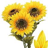 Künstliche Sonnenblumen Groß Kunstblumen Dekorative Seidenblumen Kunstpflanzen Sunflowers für Hochzeit Party Tischdeko Dekoration 3 Stücke