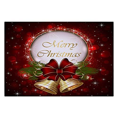 Fine Christmas Door Mat, Santa Claus Bell Reindeer Pattern Washable Flannel Absorbent Doormats Carpet, Bath Rug Area Mats Kitchen Home Decor 40x60CM (B)