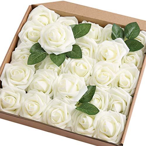 Ruiuzi Künstliche 25 Stück Rosen Blumen Schaumrosen Foamrosen Kunstblumen Rosenköpfe Gefälschte Kunstrose Rose für Hochzeit Blumensträuße Braut Zuhause Dekoration (Elfenbein, 25 Stück)