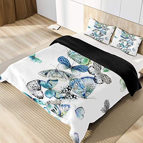 Butterfly Microfiber 3pcs Bedding Duvet Cover Set, Queen Size, Soft and Breathable with Zipper Closure & Corner Ties for Men Women Kids Teens