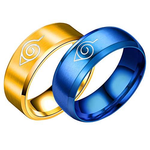 HFSKJWI Anillo de Acero de Titanio de Acero Inoxidable,Anillo de Naruto,Accesorios de Anillo de Hombre,Decoración de Dedos,Periféricos de Animación,Joyas,Oro y Azul,2 Piezas,No. 8