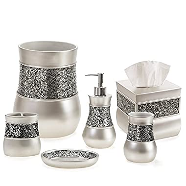 Creative Scents Brushed Nickel Bathroom Accessories Set, 6 Piece Bath Set Collection Features Soap Dispenser, Toothbrush Holder, Tumbler, Soap Dish, Tissue Cover, And Wastebasket