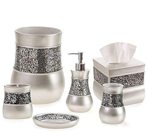 Creative Scents Bathroom Accessory Set - Decorative 6 Piece Bathroom Set - Features Soap Dispenser, Toothbrush Holder, Tumbler, Soap Dish, Tissue Box Cover & Trash Can (Silver Colored)