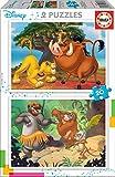 Educa - Disney Animals: El Rey Leon y El Libro de la Selva, 2 Puzzles infantiles de 20 piezas, a...