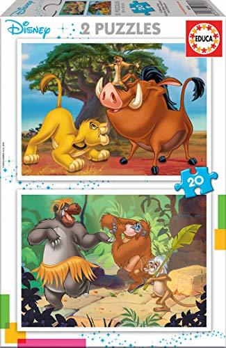 Educa - Disney Animals Rey Leon, el Libro de la Selva, Simba, Baloo 2 Puzzles x 20 Piezas, Multicolor (18103)