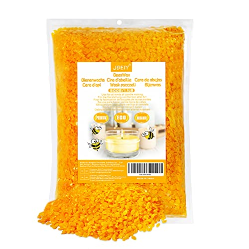 JBEIY Cera d'api per Fabbricazione Candele, 500 g di Cera d'api Biologico Gialla per Fare Candele, Cuoio, Manutenzione dei Prodotti in Legno