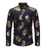 Camisa Estampada de Estilo británico Retro para Hombre Camisa con Solapa de Color a Juego de Manga Larga Camisa clásica con Botones Primavera y otoño M