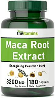Maca Root Capsules for Women & Men | 3200 MG - 180 Count | Peruvian Black, Red, & Yellow Maca Root Powder Extract | Energy...
