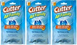 Cutter All Family 15 Count Insect Repellent Mosquito Wipes 7.15% DEET (3 Pack)