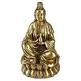 YHDP Méditation Figura De Buda Figurilla,Feng Shui Coleccionable Guan Yin Diosa Estatua,Paz Siéntate Buda Casa Decoración Regalo-Latón 6.3 Pulgadas