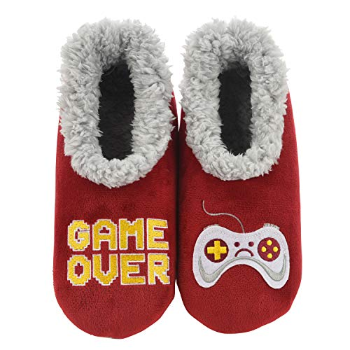 Snoozies Mens Pairables - Mens Slippers - House Slippers for Men - Game Over - Medium