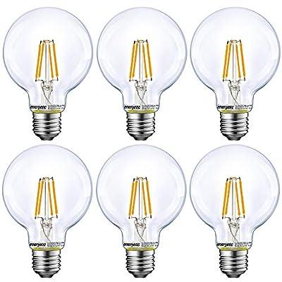 Energetic Lighting Dimmable LED Edison Light Bulb, G25 Globe Shape, Clear Glass, 60W Equivalent, 2700K Soft White, E26 Standard Base, UL Listed, 6-Pack