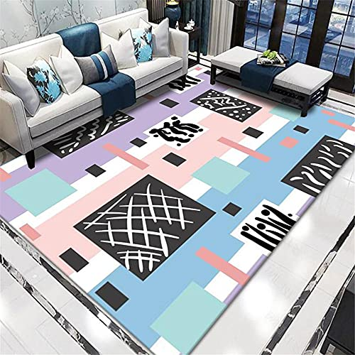 Carpets childrens bedroom rugs Breathable and comfortable blue black pink geometric design can be washed carpet kids rug bathroom rugs non slip washable 80*150CM