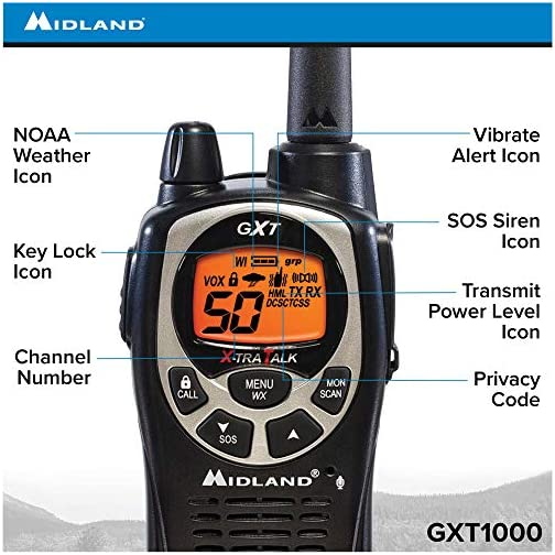 Midland 50 Channel Waterproof GMRS Two-Way Radio - Long Range Walkie Talkie with 142 Privacy Codes, SOS Siren, and NOAA… 5