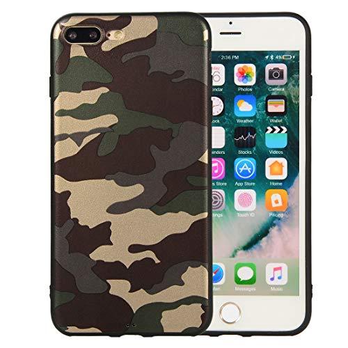 Nodigo Cover Compatibile con iPhone 8 Plus/iPhone 7 Plus Silicone Camouflage con Disegni Motivo Gomma Antiurto Creativo Matte Case Resistente Protettiva Bumper Belle Kawaii Colorate Custodia - Verde