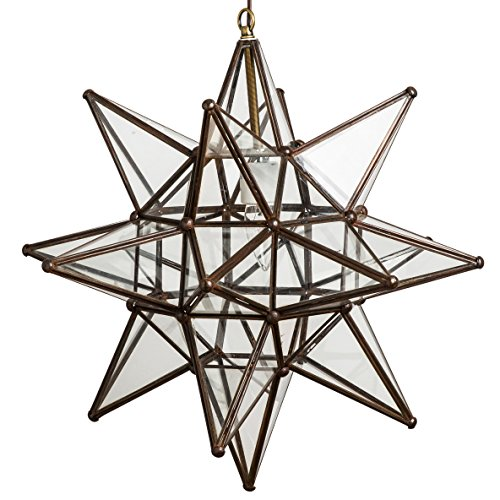 Glass Star Lights - 18 Inch Moravian Star Light (Clear)