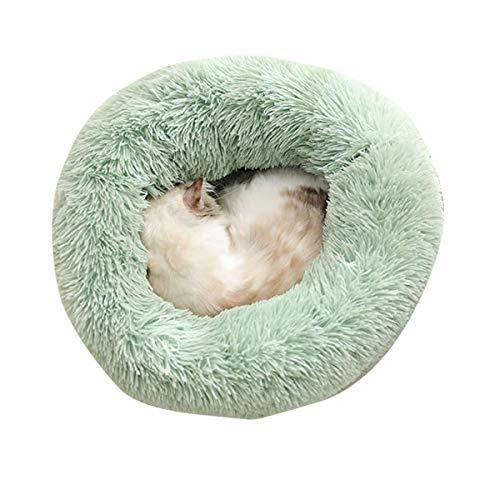 Frecoccialo Cama para Mascotas Redonda Pelo Cama Perro Gato Felpa Tamaño Grande Cojín Perro Invierno Nido Mascota Antideslizante Multicolores 4 Tamaño 10 Colores (60 * 60 cm, Verde)