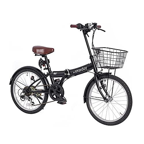 折りたたみ自転車 小径車 20インチ シマノ6段変速 カゴ付き ワイヤ錠・LEDライトのプレゼント付き 前後泥除け装備 ハンドルの高さ調節できる 折り畳み自転車 ミニベロ 3色デザイン (ブラック)