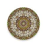 Ruchen Juego de posavasos absorbentes Mehndi étnico ornamento colorido popular tradicional cerámica decoración redonda taza Mat Set 2 piezas