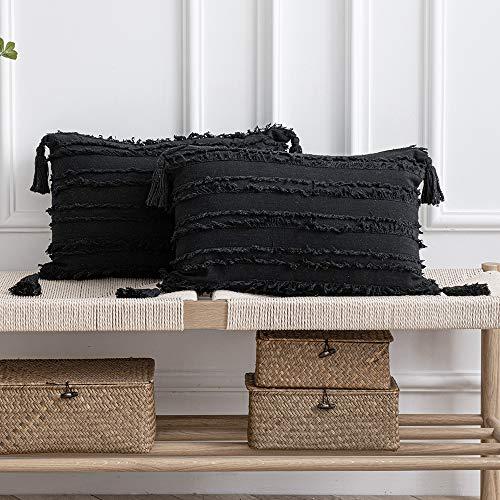Fodere per Cuscino Nere: 2 Pezzi 30x50 cm Federa per Cuscini Decorativi Rettangolari in Lino di Cotone a Righe Boho con Nappe per Divano