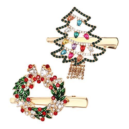 Christmas Hair Pins for Women Girls Rhinestone Crystal Snowflake Reindeer Wreath Xmas Tree Hair Clips Barrettes Accessories Festive Holiday Party Favors (Xmas tree wreath hair pins)