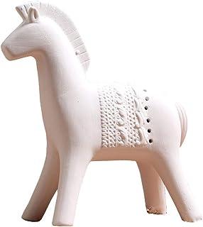 Ceramic Horse Statue, Nordic Faust War Horse Sculpture Office Wine Cabinet Decoration Retro Craft Model,large