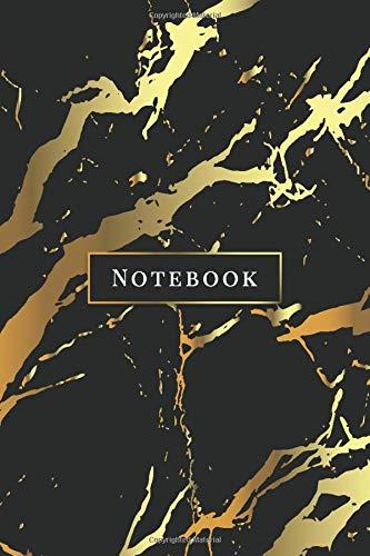 Notebook: Quaderno per appunti 108 pagine a righe 6x9 || Soft Cover || Marmo Nero & Oro
