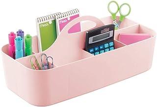 mDesign Large Office Storage Organizer Utility Tote Caddy Holder with Handle for Cabinets, Desks, Workspaces - Holds Deskt...