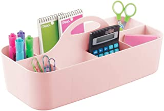 mDesign Large Office Storage Organizer Utility Tote Caddy Holder with Handle for Cabinets, Desks, Workspaces - Holds Desktop Office Supplies, Gel Pens, Pencils, Markers, Staplers - Light Pink/Blush