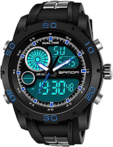ZFAYFMA Reloj para hombre, correa de plástico luminoso, impermeable, reloj multifunción, reloj electrónico LED al aire libre, reloj deportivo de lujo automático negro