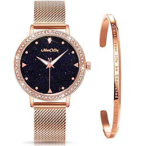 ManChDa Damen Armbanduhr Marmor-Zifferblatt Uhr mit Kristall Mesh Edelstahl Gürtel Damen Quarz Diamant Klassische Mode Romantisch + Schmuck Manschette Armband Set(Rosegold)