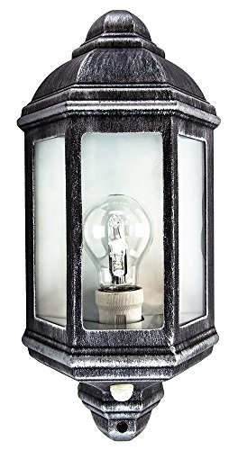 Traditionele PIR-sensor Wandlamp buiten met zwart en zilver gegoten frame