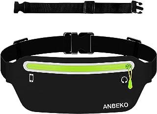 ANBEKO Slim Running belt Waist Pouch with Extender, Ultra Light Bounce Free Belt Bag, Water Resistant Waist Pack for Women...