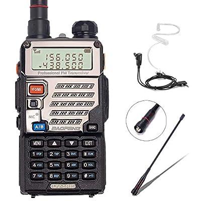 BaoFeng UV-5RE+ 8Watt Ham Radio Handheld Rechargeable with Gamtaai NA-771 Telescopic Antenna+Acoustic Tube Earpiece+2800mAh Large Battery,VHF/UHF Two Way Radio Long Range Walkie Talkies (Black)