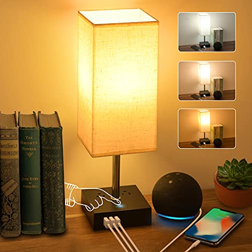 3-Color Touch Control Bedside Lamp with 3 USB Port and Two 3-Prong Outlet Table Lamps for Bedroom, Nightstand Lamps with Premium Linen Fabric Lampshade for Living Room Office (Bulb Included)