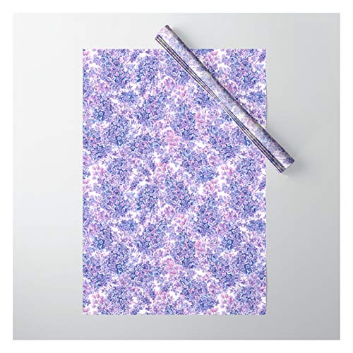Society6 Violet Watercolor Lilac Flowers by Katerina Kirilova on Gift Wrapping Paper - Pack of 5