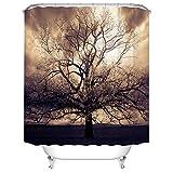 Sepia Tree Duschvorhänge für Badezimmer Mysterious Fantasy Forest Wasserdicht Stoff Duschvorhang mit Haken für Badezimmer Dekorationen 182,9 x 182,9 cm