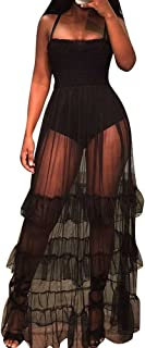 SuitU Womens Sexy Spaghetti Strap Mesh See Through Ruffle Skirt Bodysuit Maxi Swing Dress