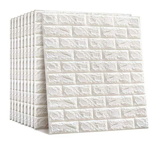 壁紙 壁紙シール 壁紙レンガ 防音シート はがせる壁紙 ウォールステッカー 防水 DIYレンガ調壁 リメイクシート タイルシール (60*60cm 10枚入れ ホワイト)
