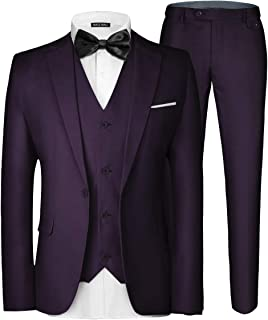 Men's 3 Pieces Suit Elegant Solid One Button Slim Fit Single Breasted Party Blazer Vest Pants Set