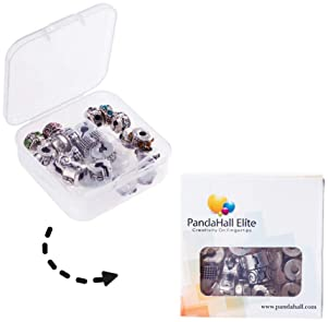 PandaHall Elite 20 Pcs Clip Lock Bead Charms with 20 Pcs Silicon Rubber Stopper O-Rings Fit European Style Bracelet f...