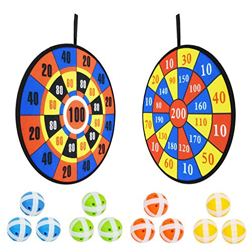 TaemBuy Kids Dart Board 2 Pcs with 12 Colorful Sticky Balls - Safe Classic Dart Board with Hook-and-Loop Fasteners Christmas Kids Gift Outdoor Indoor Game Choice - 14 Inches (36 cm) … (Black)