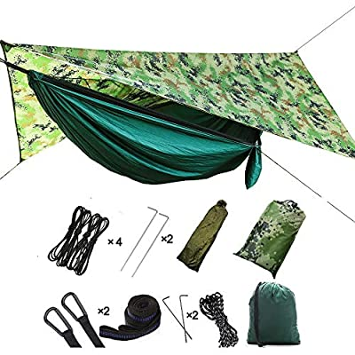 HIKANT Camping Hammock Set:Single Hammock,Mosquito Net,Rainfly Tarp Tent,(Lightweight,Waterproof,Sun-Shade) Hammock Tent Perfect for Backpacking,Hiking