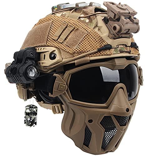 Juego Casco Táctico, Equipo Protección Airsoft con Máscara & Gafas & Cubierta Casco, Forro EPP Avanzado Adicional, para Caza de Paintball Al Aire Libre Caza CS,Beige b,L