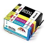 Mony HP 903 XL 903XL - Cartuchos de tinta remanufacturados para HP OfficeJet Pro 6950 6960 6970 All in One (1 negro, 1 azul, 1 magenta y 1 amarillo)