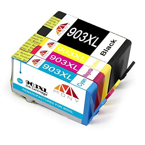 Mony Remanufacturado Cartuchos de Tinta HP 903 903S XL 903XL Compatible con HP OfficeJet Pro 6950 6960 6970 All in One Impresoras (1 Negro, 1 Cian, 1 Magenta, 1 Amarillo, El último Chip)